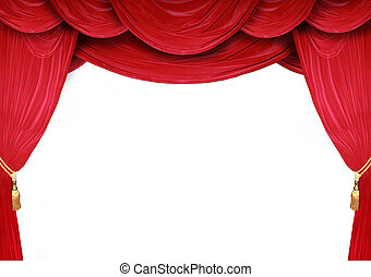 Curtains of an opera house - Red curtain of a classical...