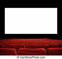 big cinema screen - classic cinema with red seats