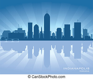 Indianapolis, Indiana skyline illustration with reflection...