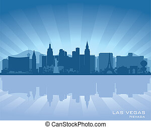 Las Vegas, Nevada skyline illustration with reflection in...