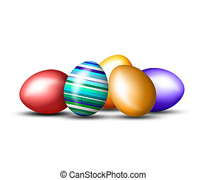 Happy Easter with colored eggs