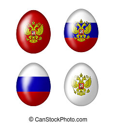 Collection of Russian eggs - Easter eggs with Russian flag...