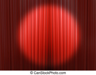 Headlights light on the curtains - Red curtain of a...