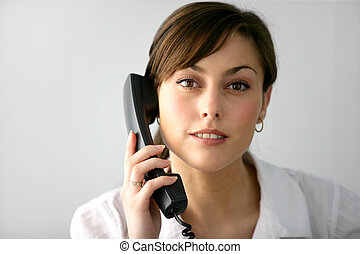 Woman taking a phone call