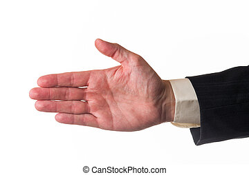 Hello - Open hand, man say hello, white isolated background