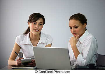 Clerical workers in front of a laptop