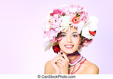 in pink - Portrait of a beautiful spring girl wearing...