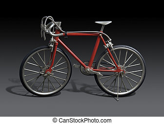 model of a red framed bicycle in dark grey back, with...