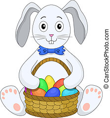 rabbit with a basket eggs