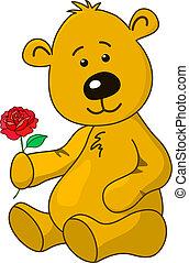 Teddy-bear with a rose flower