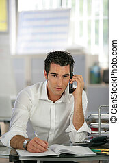 Recruiter having phone call