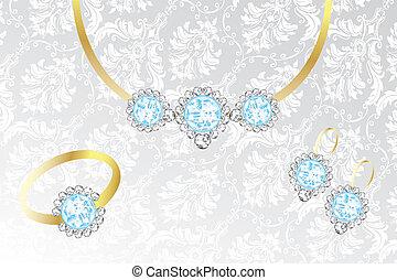 Jewelry set with topaz and diamonds