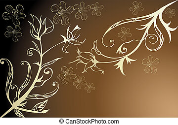 Golden floral design - Illustration with room for text