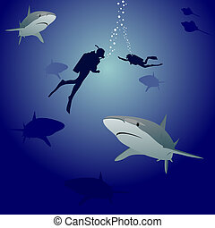 Sharks and scuba divers - Scuba divers in the sea,...