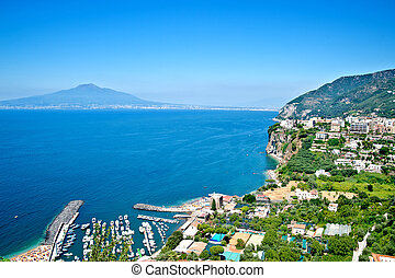 Gulf of naples with mount vesuvius in background