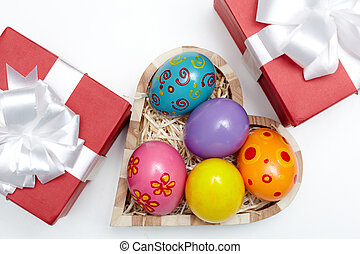 Easter presents - Above angle of an Easter still-life with...