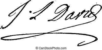 Signature of Jacques-Louis David 1748-1825, vintage engraved...