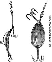 Fishing Lures, Fig. 86. Plug, Fig. 87. Spoon, vintage...