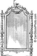 Ornate Louis XVI French style mirror, vintage engraving. -...