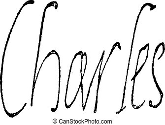 Signature of Charles IX, King of France (1550-1574), vintage engraving.