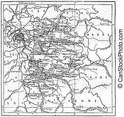 Map of department of Seine-et-Marne, France, vintage engraving.