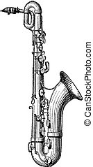 Saxophone vintage engraving - Old engraved illustration of...