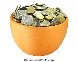 two pots of coins on a white background