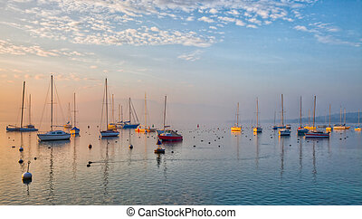 Sunrise and Sailboats - Sunrise at Lake Geneva, Switzerland...