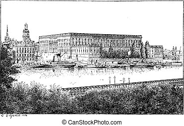 Royal palace in Stockholm, Sweden, vintage engraving.