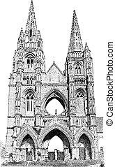 Abbey of St. Jean des Vignes vintage engraving