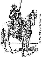 Spahi with weapon on horse, vintage engraving.