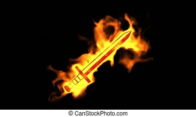 fire sword sign,burning ancient arms.
