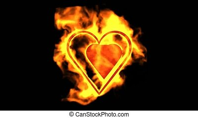 two burning hearts,valentine's day energy heart.