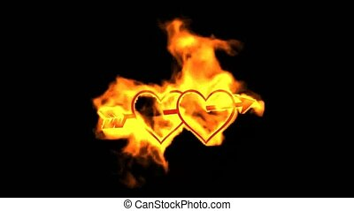 arrow through two burning hearts,valentine's day energy...