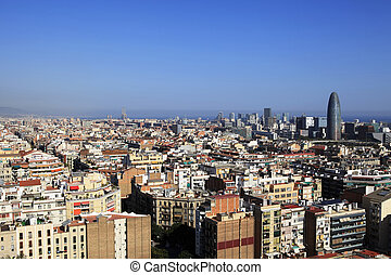 Aerial view of Barcelona - Aerial view of Barcelona from the...