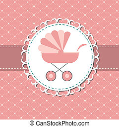 vettore, illustrazione, rosa, bambino, carrello, neonato,...