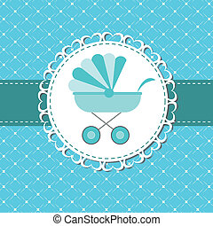 Vector illustration of pink baby carriage for newborn boy
