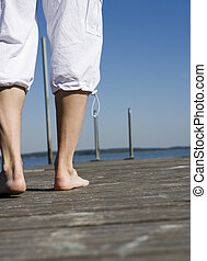 Barefoot - Walking barefoot on the Pier