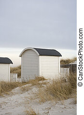 Boathouse - White Boathouse on the beach