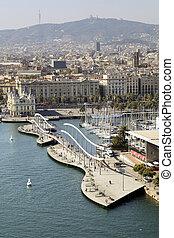 Rambla del mar in Barcelona - Rambla del mar walkway in...
