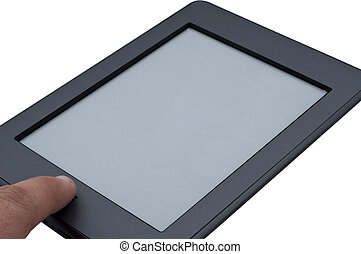 Ebook reader device touching the home button on isolated...