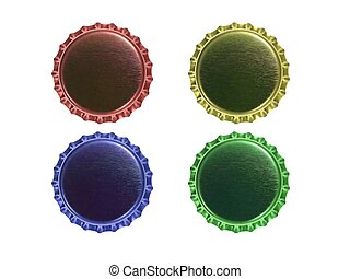 Bottle Caps - Bottle caps isolated against a white...