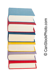 A stack of books with colorful covers