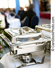 Chafing dish closeup - Chafing Dish made of stainless steel...
