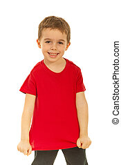 Happy kid showing his blank red t-shirt isolated on white...