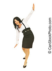 Happy businesswoman trying to keep balance - Happy business...