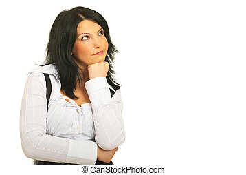 Confused pensive woman looking up - Confused pensive...