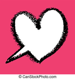 Heart-shaped speech bubble. Vector illustration.
