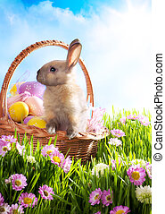 Easter basket with decorated eggs and the Easter bunny in the grass
