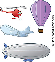 Aircraft - Four different types of aircraft or air vehicles